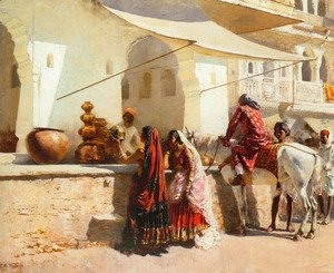 Edwin Lord Weeks - A Street Market Scene, India