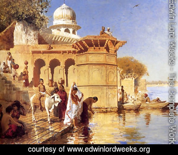 Edwin Lord Weeks - Along the Ghats, Mathura (or Picture Of The Nile)