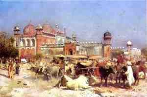 Edwin Lord Weeks - Market Place at Agra