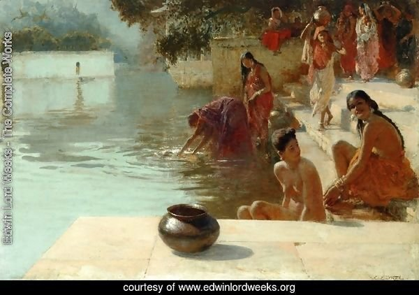 Woman's Bathing Place i Oodeypore, India