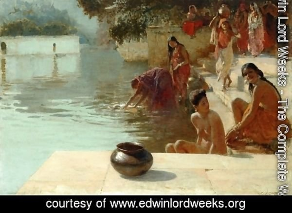 Edwin Lord Weeks - Woman's Bathing Place i Oodeypore, India