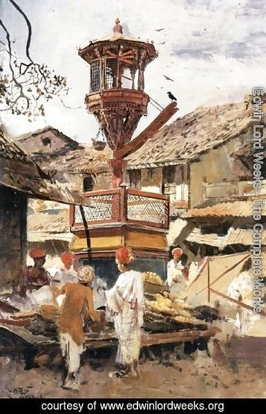 Edwin Lord Weeks - Birdhouse and Market-Ahmedabad, India