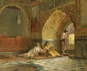 Edwin Lord Weeks - Interior of La Torre des Infantas, illustrating the legend of the three Moorish princesses, in Washington Irving's 'The Alhambra'