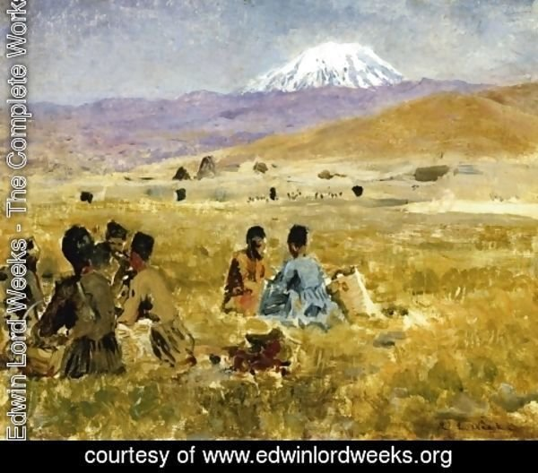 Edwin Lord Weeks - Persians lunching on the Grass, Mt. Ararat in the Distance