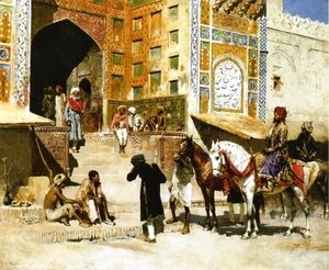 Edwin Lord Weeks - Steps of the Mosque Vazirkham, Lahore