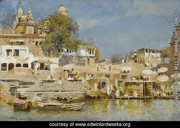 Temples and bathing ghat at Benares