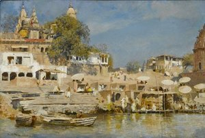 Edwin Lord Weeks - Temples and bathing ghat at Benares