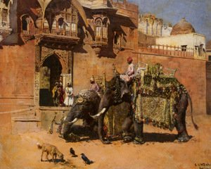 Edwin Lord Weeks - Elephants at the Palace of Jodhpore