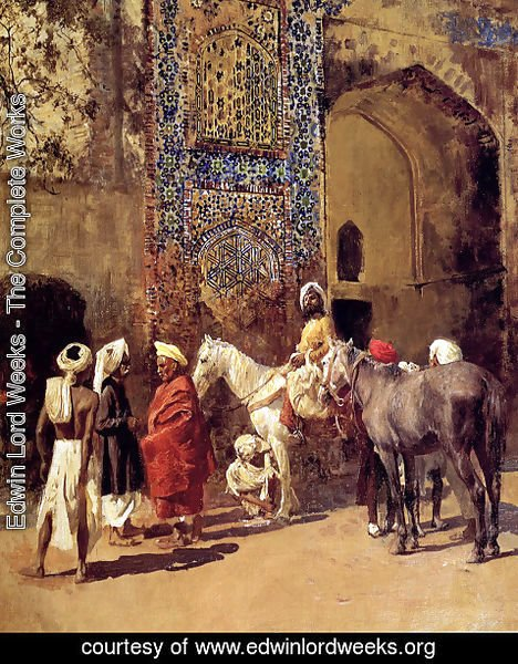 Edwin Lord Weeks - Blue Tiled Mosque At Delhi  India
