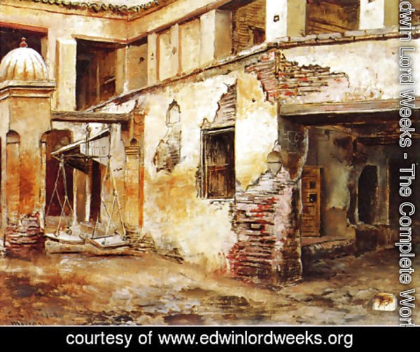 Edwin Lord Weeks - Courtyard In Morocco