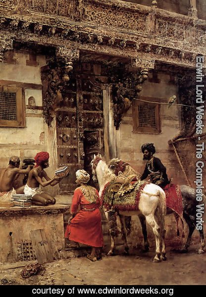 Edwin Lord Weeks - Craftsman Selling Cases By A Teak Wood Building  Ahmedabad