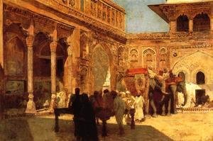 Edwin Lord Weeks - Elephants And Figures In A Courtyard  Fort Agra