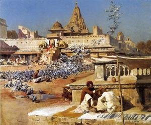 Edwin Lord Weeks - Feeding The Sacred Pigeons  Jaipur