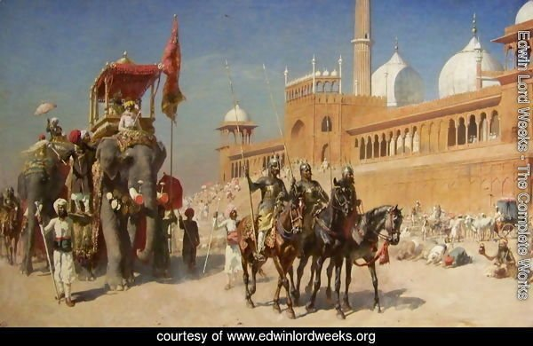 Great Mogul And His Court Returning From The Great Mosque At Delhi  India