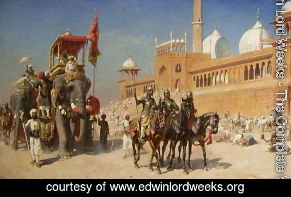 Edwin Lord Weeks - Great Mogul And His Court Returning From The Great Mosque At Delhi  India
