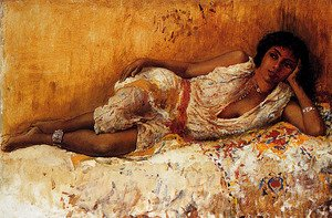 Edwin Lord Weeks - Moorish Girl Lying On A Couch  Rabat  Morocco