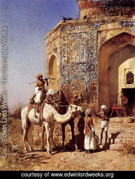 Edwin Lord Weeks - Old Blue Tiled Mosque  Outside Of Delhi  India