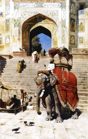 Edwin Lord Weeks - Royal Elephant At The Gateway To The Jami Masjid  Mathura
