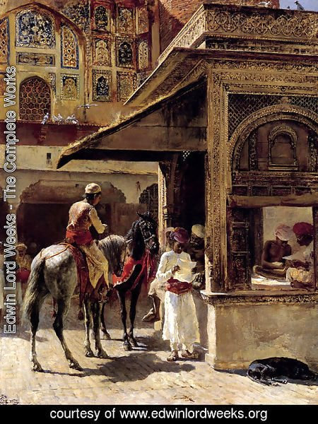 Edwin Lord Weeks - Street Scene In India