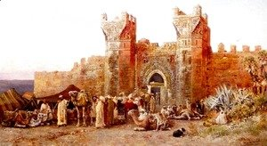 Edwin Lord Weeks - The Departure Of A Caravan From The Gate Of Shelah  Morocco