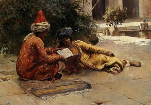 Edwin Lord Weeks - Two Arabs Reading In A Courtyard